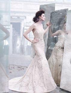 Bridal Gowns: Lazaro Mermaid Wedding Dress with Sweetheart Neckline and Natural Waist Waistline