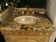 Unique Tan/ Black Granite Bathroom Vanity With White And Gold Sink, Gold  Sink Faucet