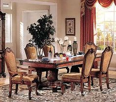 7pc Formal Dining Table & Chairs Set Cherry & Brown Finish $1500.07