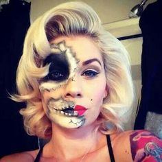 I think she did such a great job, so beautiful. Cool look for a Marilyn Monroe for Halloween but with a twist!