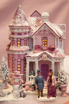 Victorian House by Lemax. I love having villages for Christmas Shabby Chic Christmas, Victorian Christmas, Christmas Love, Christmas Colors, Vintage Christmas, Christmas Holidays, Victorian House, Victorian Village, Christmas Gingerbread