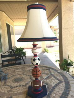Stacked sports balls table lamp camdens room pinterest kids 27 football basketball scoccer ball baseball sports table lamp shade mozeypictures Images