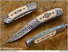 This stunning Damascus clip-point folder is by talented young Swedish maker Anders Hedlund. He buys damascus from the finest Swedish smiths and has made quite a name for himself in the custom knife world even though he has only been making knives since 1999.
