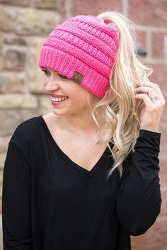 36de8370978 CC solid messy bun beanie new candy pink from Lush Fashion Lounge Cc Hats