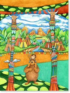 Serie: Aquarell Zeichnungen Motiv:  #Indianer Land - Der kleine Indianer und Häuptling brauner Bär. - Serie: Bilder für's Kinderzimmer.