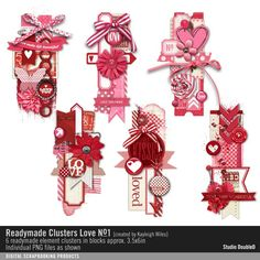 Readymade+Clusters:+Love+No.+01 pink love hearts embellishment clusters #readymade #designerdigitals