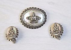 Vintage Collectible Woman's Jewelry Gautama Buddha Hinduism Earrings and Brooch