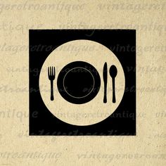 Digital Plate Setting with Fork Knife and Spoon Image Graphic Illustration Download Printable Vintage Clip Art. High resolution, high quality digital graphic image from vintage artwork for fabric transfers, printing, papercrafts, t-shirts, pillows, tea towels, and more. Antique artwork. This digital graphic is high quality at 8½ x 11 inches large. Transparent background version included with all images.