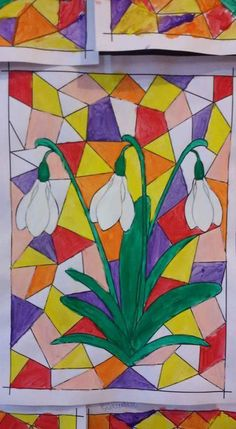 Stained Glass Flowers, Stained Glass Patterns, Spring Crafts For Kids, Art For Kids, Sunflower Quilts, Diy And Crafts, Arts And Crafts, Fall Coloring Pages, Spring Art