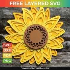 3d Cuts, Sunflower Crafts, Sunflower Design, Cricut Svg Files Free, Animated Gifs, Flower Svg, Cricut Craft Room, Freebies, Cricut Tutorials