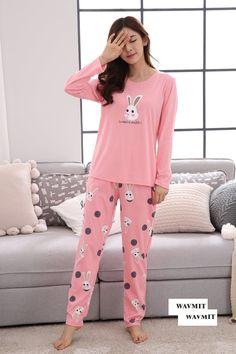 Autumn & Spring Cotton Pyjamas Women Girl Pajama Sets Cartoon Sleepwear Pajamas For Women Long-Sleev Tracksuit Night Suit For Girl, Girls Night Dress, Night Dress For Women, Kids Nightwear, Cute Sleepwear, Sleepwear Women, Loungewear Outfits, Pajama Outfits, Girl Outfits