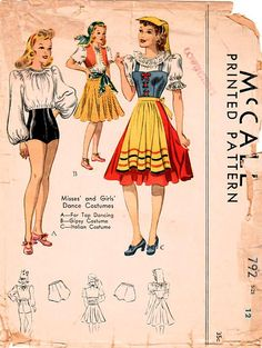 46aab5ed40 1940s McCall 782 Vintage Sewing Pattern Girls and Misses Dance Barbie Sewing  Patterns