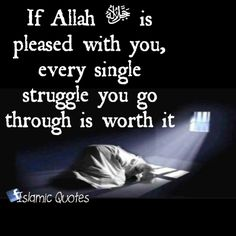 If Allah ﷻ is pleased with you, every single struggle you go through is worth it