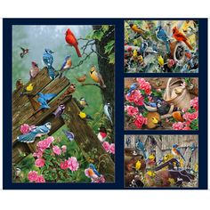 "QT Fabrics Songbirds Digital Large Songbird Patches 24"" Panel - Fabric.com Panel Quilts, Starling, Fabric Panels, Fabric Patterns, Blue Bird, Printed Cotton, Fabric Design, Cotton Fabric, Sewing Projects"