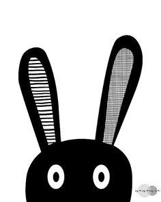 Bunny Selfie Print Kids Room Decor Art noir et par nanamiadesign