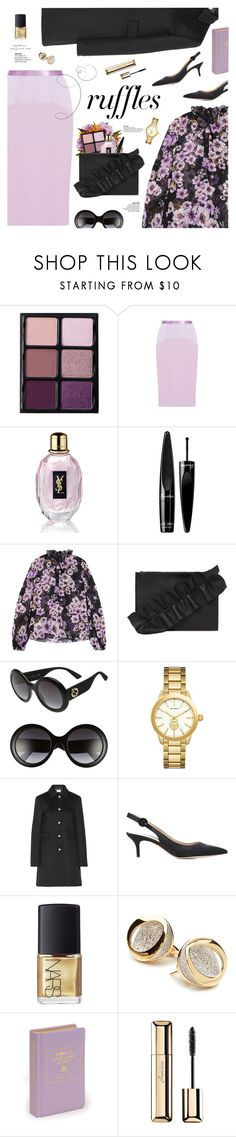 """What a Frill: Ruffles"" by mylkbar ❤ liked on Polyvore featuring Viseart, Prabal Gurung, Yves Saint Laurent, Guerlain, Giambattista Valli, MSGM, Gucci, Tory Burch, Gianvito Rossi and NARS Cosmetics"