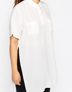Image 3 of ASOS CURVE Longline Polo Blouse