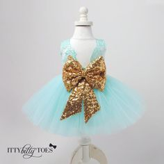 Mint Tulle and Gold Sequin Princess dress | Princess Aisha Dress (Mint) - Itty Bitty Toes | www.ittybittytoes.com