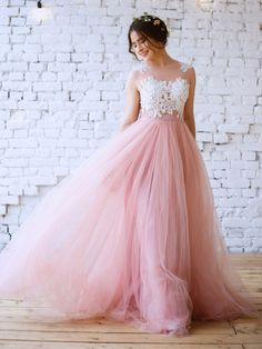 Princess Scoop Neck Tulle Floor-length Appliques Lace Pink Prom Dress