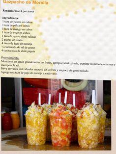 Gaspacho de Morelia. También debe a tener capas de queso cotija and chopped onion.