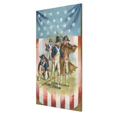 Fourth of July Postcard with Continental Soldiers Stretched Canvas Prints