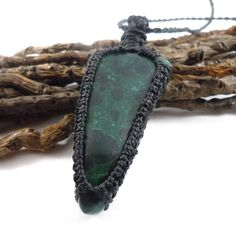 Mens necklace malachite nomad choker healing by WrapMeACrystal