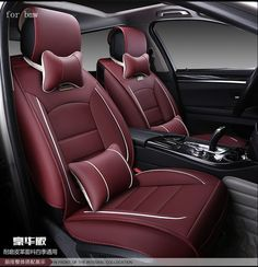 For BMW e46 e90 e39 e60 e36 x5 e53 f30 red black waterproof soft pu leather car seat cover brand front and rear full seat covers