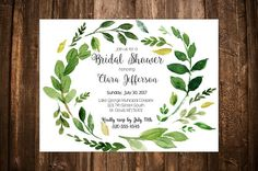 Wreath Bridal Shower Customizable Invitation - 7x5 High Resolution 300dpi (for great quality printing)  During checkout, in the notes to seller section please leave me all the details you would like included in your invitation. All wording can be changed. Everything but the background and font can be customized to whatever your heart desires. (This template can also be used for wedding invitations/graduation party/bachelorette party/baby showers and more)  After purchasing, I w...