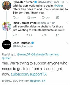 @Regrann from @theshaderoom -  #Uber is sponsoring rides (up to $50) for anyone traveling to or from #Houston shelters. #hurricaneharvey  #Explore #MMV www.biglifemmv.com - #regrann