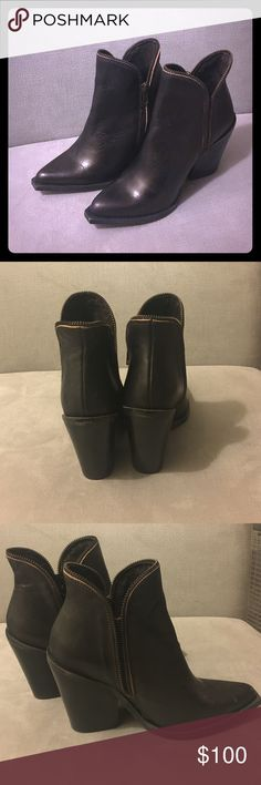 Jeffrey Campbell 1968 ankle boot Highly coveted Jeffrey Campbell 1968 ankle boot in dark brown. Pics almost look black. They have an intentional distressed look. Priced high because I'm not 100% sure about letting these go but shoot me an offer if you're a serious buyer! Jeffrey Campbell Shoes Ankle Boots & Booties