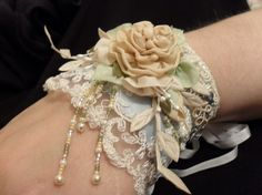 French Blue ribbon and lace cuff ♥ by lambsandivydesigns on Etsy