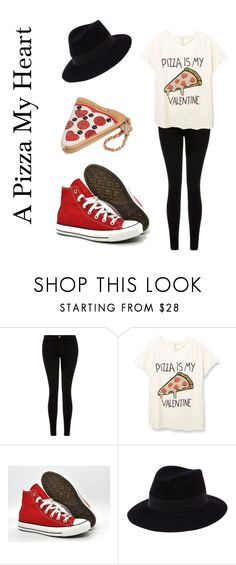 """A Pizza My Heart"" by marfanmuggle ❤ liked on Polyvore featuring Current/Elliott, Converse, Maison Michel, Betsey Johnson, pizza, valentine, valentinesday and valentines"