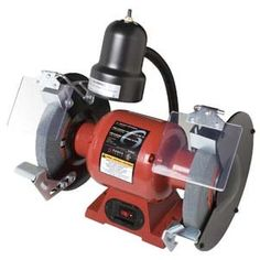 Sunex Tools Bench Grinder at Lowe's. has two 8 In. grit wheels: coarse 36 and medium each wheel has protective spark guard and adjustable eye shield; Flexible Working, Metal Working, Delta Power Tools, Industrial Bench, Coping Saw, Bench Grinder, Tool Bench, Garage Lighting, How To Remove Rust