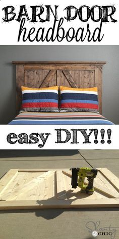Super EASY Barn Door Style Headboard! Click for simple instructions. guest room