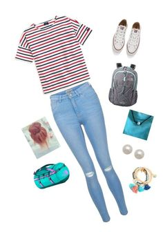 Back to school outfit! by xxsaylormorganxx on Polyvore featuring polyvore, fashion, style, Saint James, New Look, Converse, The North Face, Honora and clothing