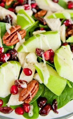 Sweet Tooth Salad - chicken, apples, spinach, walnuts, and I use dried cranberries: