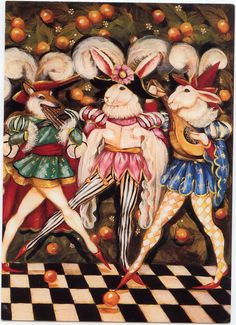 "#1 of 4 Artist Pamela Silin-Palmer. ""Some measure days by dreams, and some by flowers.""  Published by SUNRISE INC.  Card #ISBN:9 780943 074399  October 18, 2009  BLOGGER posted a Female Renaissance Rabbit and expressed the thought it would be nice if she had a Gentlemen Dance Partner. My friend found not only one Gentleman Dance Partner but four. Picture #4  you see them together.  FRONT OF CARD"