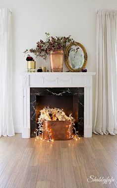 living room ideas christmas lights in the fireplace originally rh pinterest com