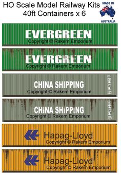 HO Scale Containers Mixed 6 x - Model Railway Building Kit 40ft Container, Container Design, Free Paper Models, Rail Car, Model Train Layouts, Shipping Containers, Jumping Jacks, Ho Scale, Model Trains