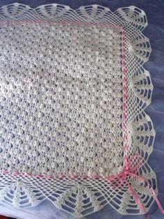 Crochet baby blanket or moses Crochet Blanket Edging, Baby Afghan Crochet, Crochet Stitches, Crochet Patterns, Crochet Home, Crochet Crafts, Free Crochet, Diy Crafts, Crochet Afgans