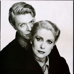 Catherine Deneuve and David Bowie by David Bailey, 1982 (via Le Cinéma on Twitter)
