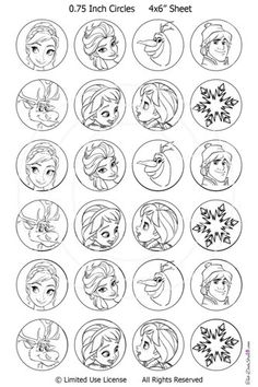 Disney Frozen Christmas Decorate the Tree Coloring Pages Birthday Party Games PDF 6 Different Ornaments Clip Art Digital Paper Printable