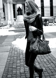 Leather bag and infinity scarf