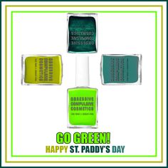 Go Green! Happy St. Paddy's Day :) #OCCmakeup #DevenGreen #Wasabi #ManByMan #Chlorophyll   http://shop.nordstrom.com/s/obsessive-compulsive-cosmetics-nail-lacquer/3864653?origin=category-personalizedsort&contextualcategoryid=0&fashionColor=&resultback=400
