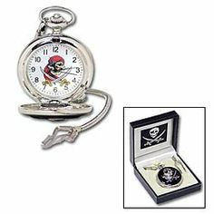 """Pirate Pocket Watch by sigmaimpexinc.com. $13.00. 13"""" chain. silver plated. Features full color detail on the dial and silver plated cover with intricate engravings. Includes custom gift box."""