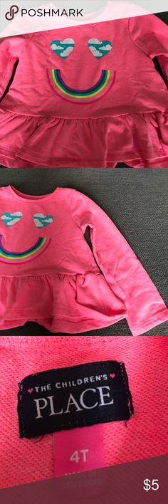 The children's place pink rainbow long sleeve The children's place pink long sleeved shirt. Super cute rainbow smile! Size 4t the children's place  Shirts & Tops Tees - Long Sleeve