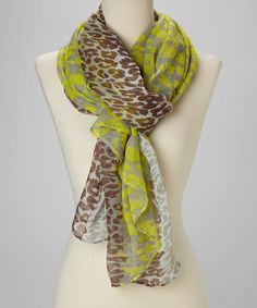 This Gray & Lime Green Leopard Scarf is perfect! #zulilyfinds
