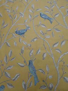 Sanderson Curtain Fabric 'Finches' Yellow 0.8 METRES 100% Cotton Glaze  #Sanderson