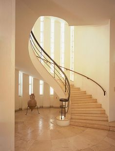 Architect Erich Mendelsohn fled Nazi Germany in leaving a trail of modernist masterpieces including Villa Weizmann in Palestine in his wake Spiral Stairs Design, Spiral Staircase, Erich Mendelsohn, Chief Architect, Modernism, Glass Panels, Bauhaus, Ground Floor, Thesis