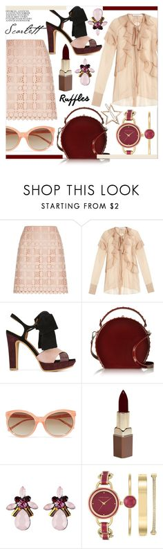 """""""afternoon tea"""" by ztugceuslu ❤ liked on Polyvore featuring Sandro, Givenchy, See by Chloé, Bertoni, Linda Farrow, Fashion Fair, Anne Klein, LC Lauren Conrad, crochetskirt and bordeux"""